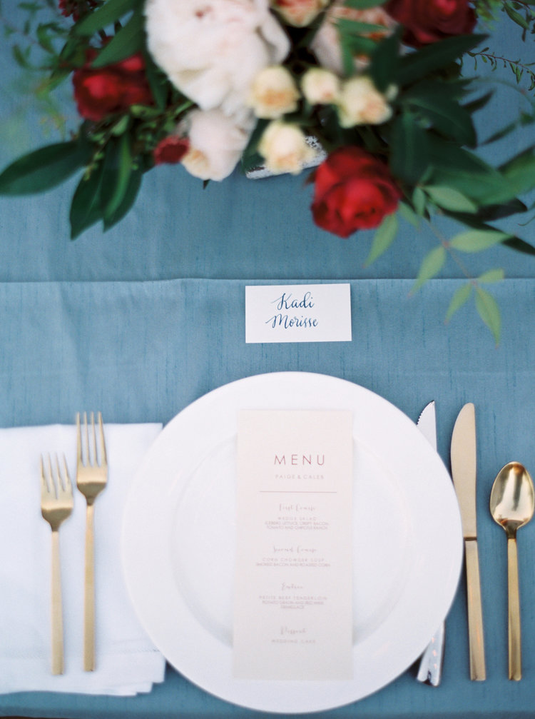 Place cards || Navy Blue Ink on White Cardstock (Modern Calligraphy)  Photographer:https://www.instagram.com/watsonandpayne/  Event Planner:http://www.gibsonevents.com/