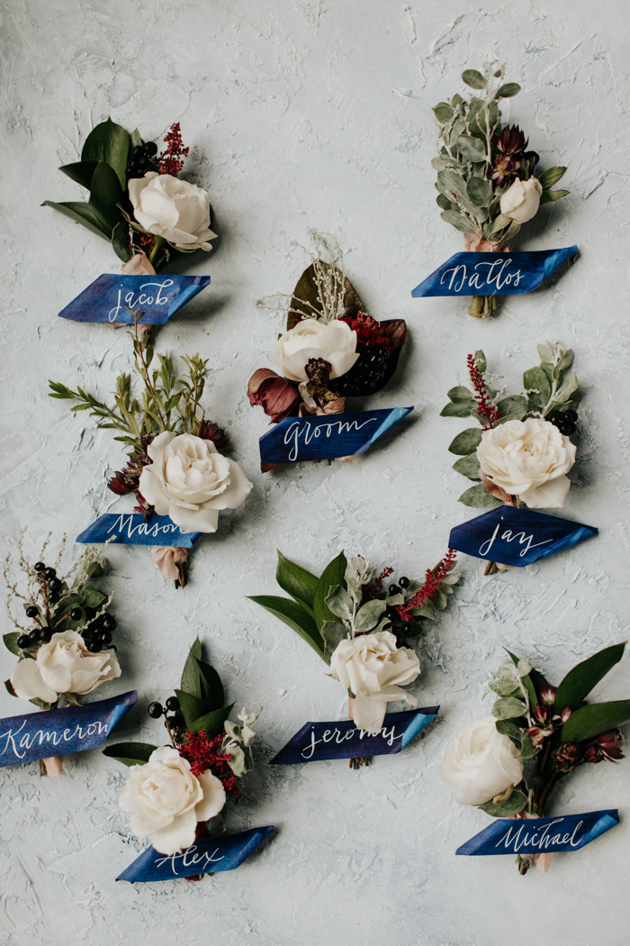 Custom dyed navy blue watercolor paper with white ink |  Ink Stained Fingers   Bouts and flowers |  Poppy Lane   Photography |  Melissa Marshall