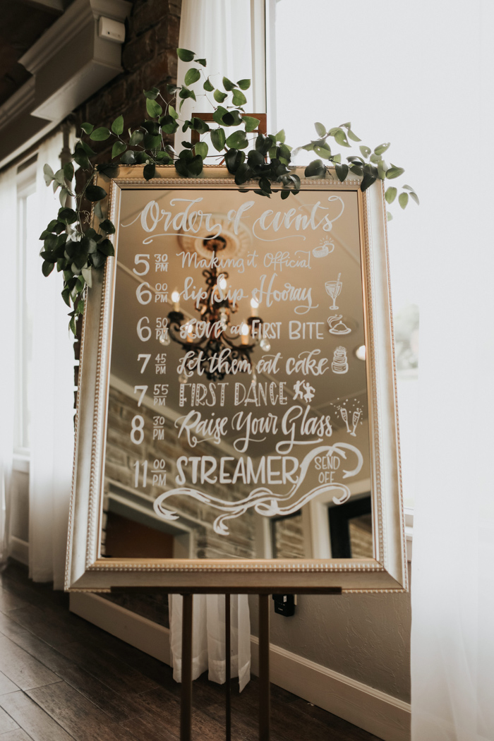 Order of Events Mirror Signage |  Ink Stained Fingers   Rentals |  Marianne's   Catering |  C2 Catering