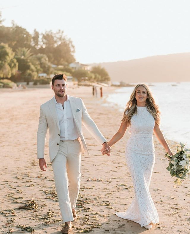 Tahnee + Harry strolling along Palmy at sunset⁠ Photo | @rippleweddings⁠ #theboathousegroup #theboathousepalmbeach #weddings #locationphotos #events