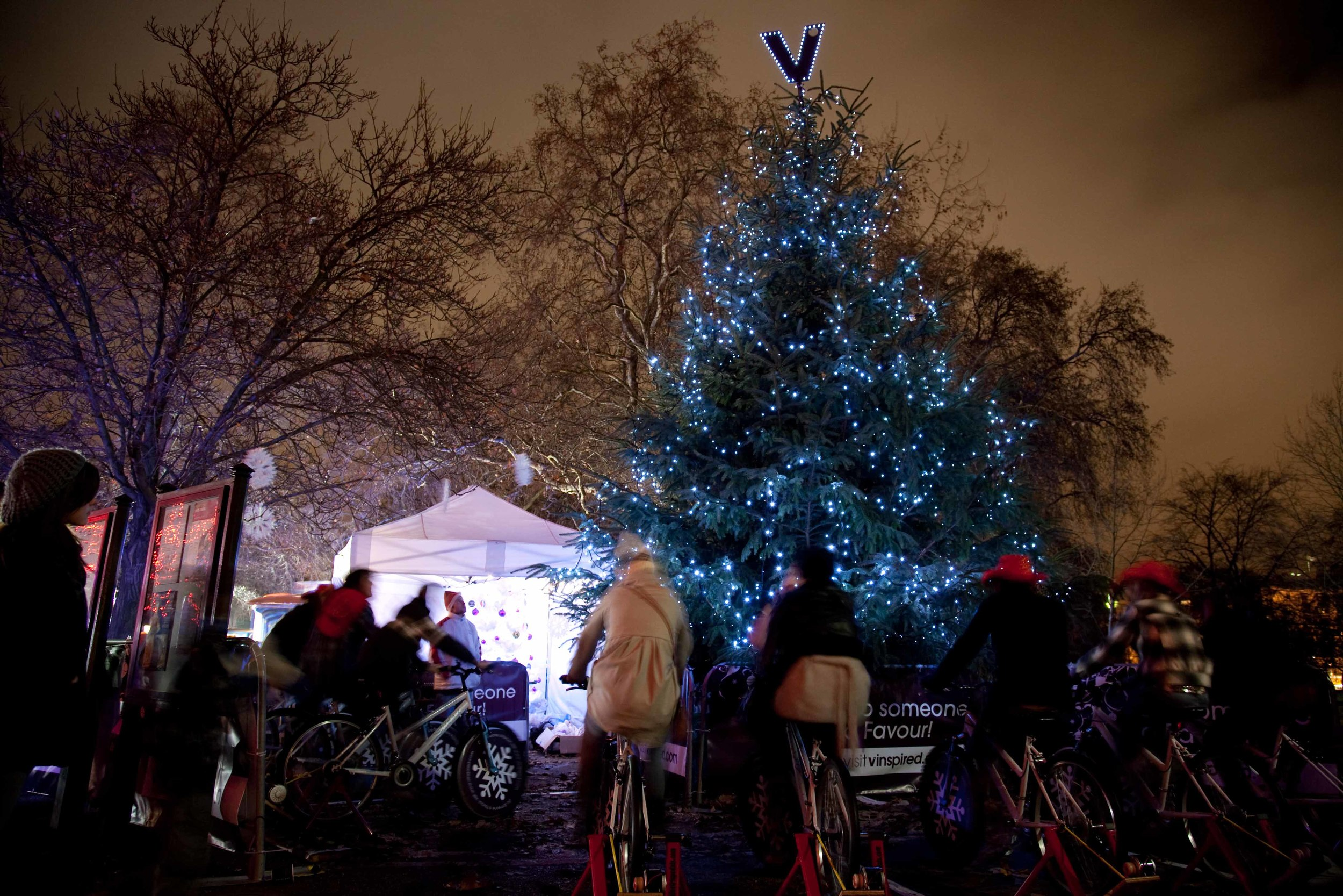 10 bicycles powering a LED 'christmas tree' for V-Inspired, Winter Wonder Land