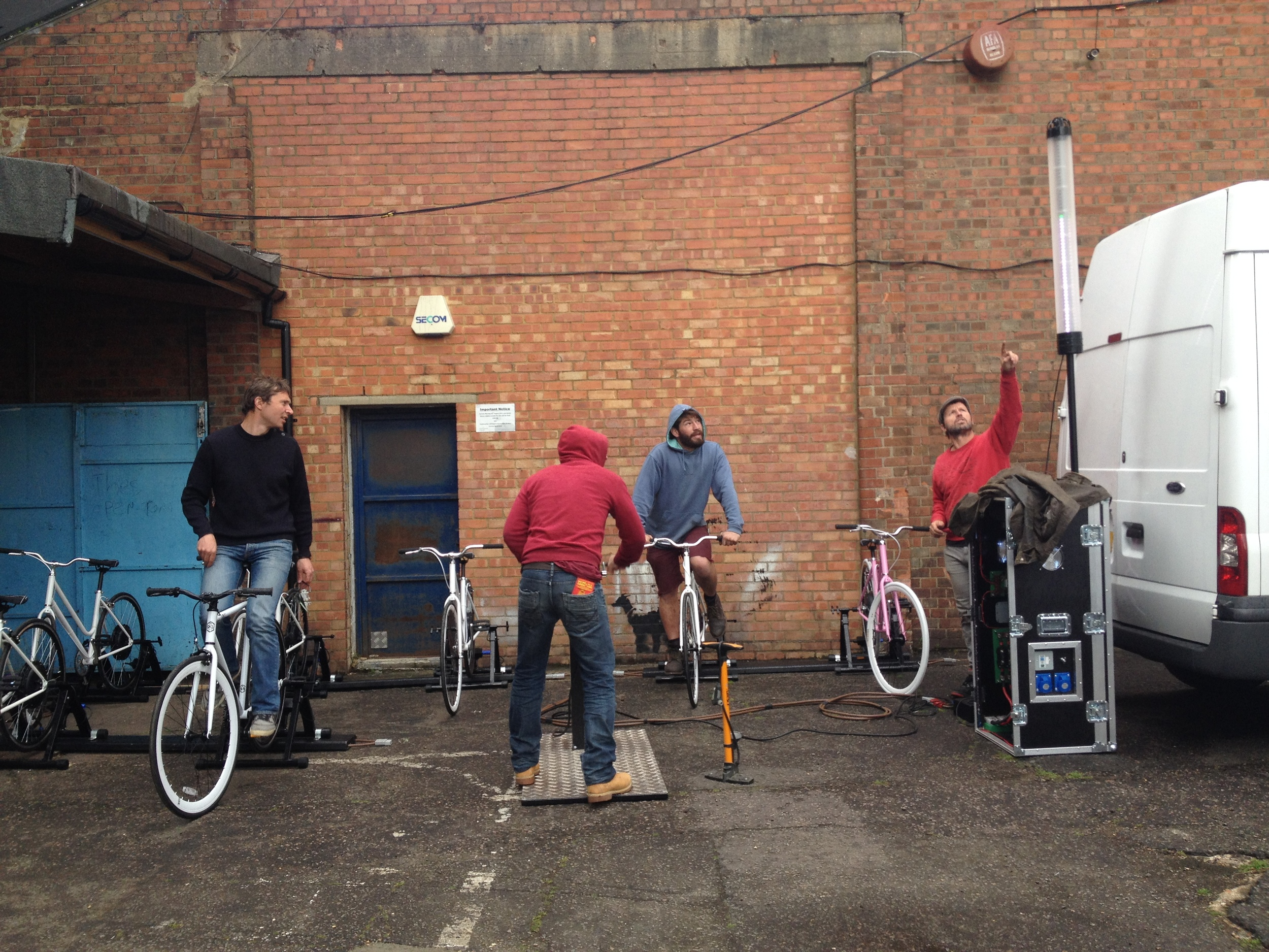 Team work! Testing the LED Voltage Tower at our workshop in Peckham © Electric Pedals