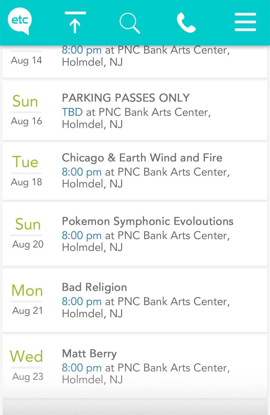 Event Tickets Center Mobile (Ticket Page Shrinking Header) • Full Render Mockup