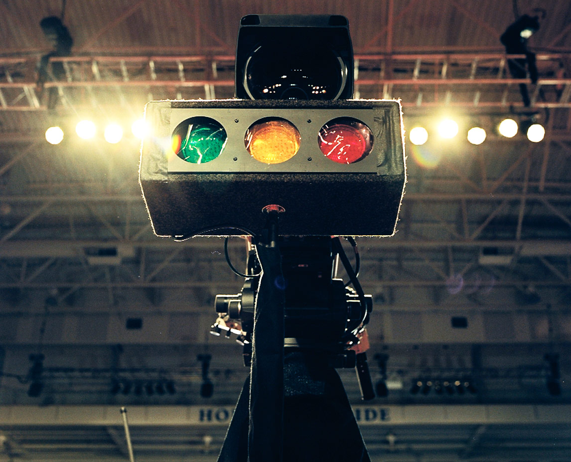 Timing lights on the center Camera.  Photo by Harlan Erskine.