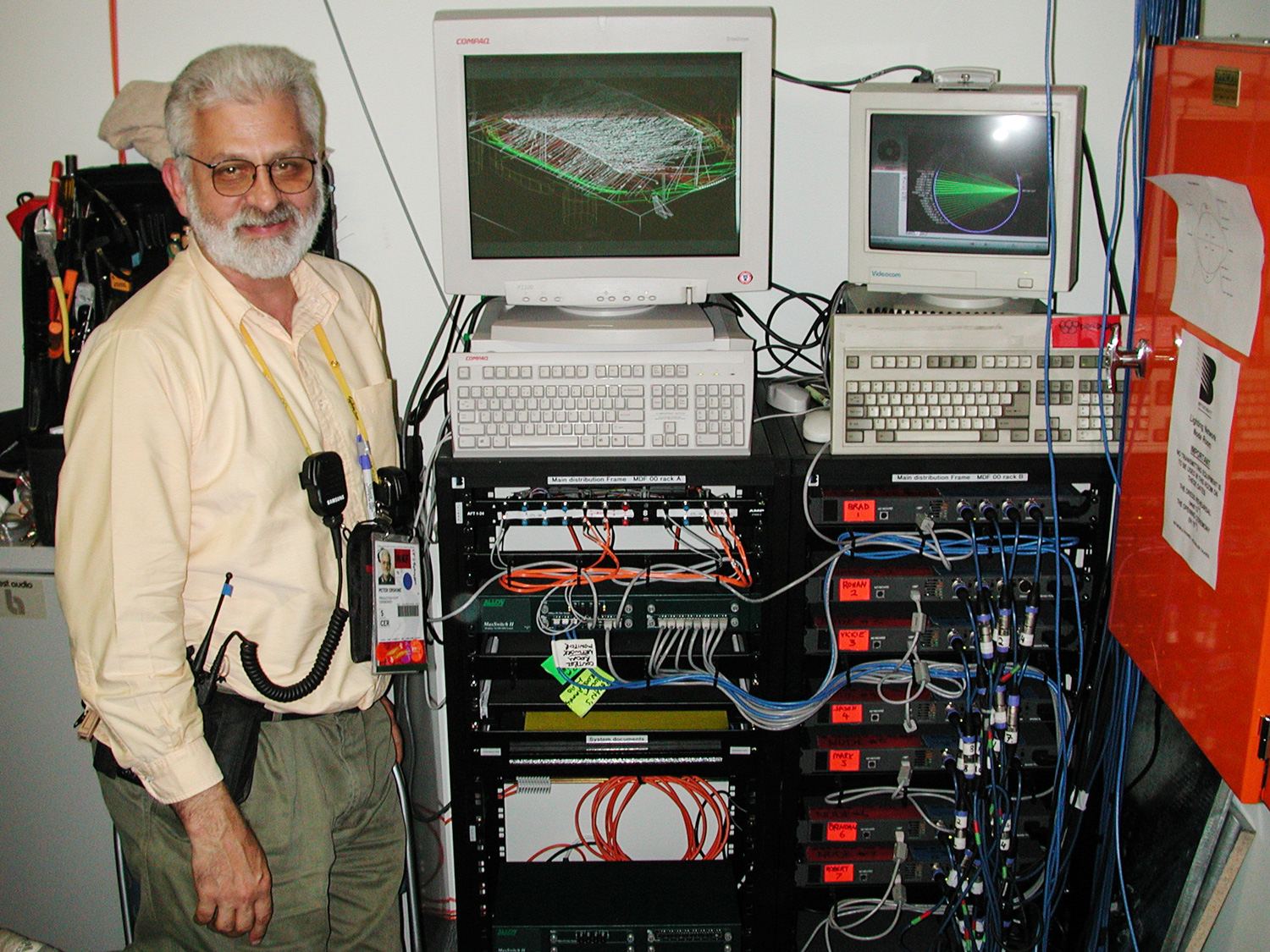 Pete standing next to the lighting fiber distribution system.