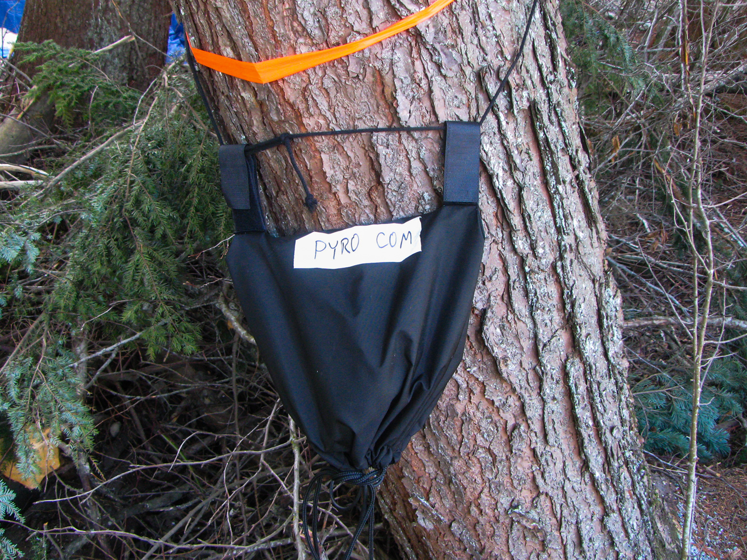Strapped to a tree backstage was the pyro control beltpack.