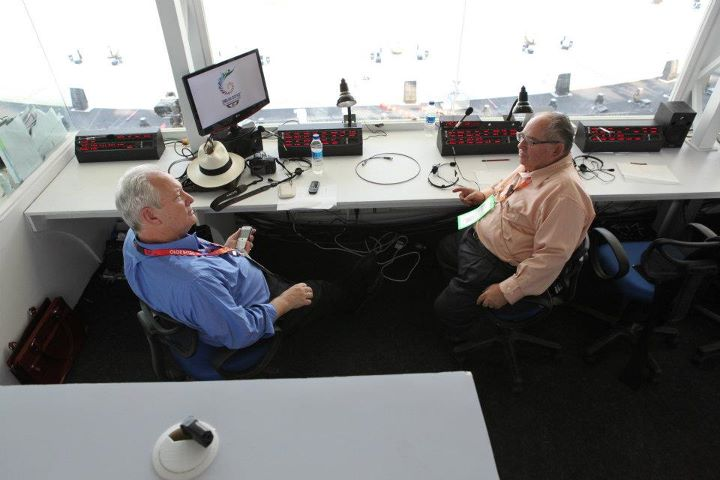 Ric Burch, Producer of Commonwealth Opening Ceremonies and Larry Estrin in the stage managers booth.