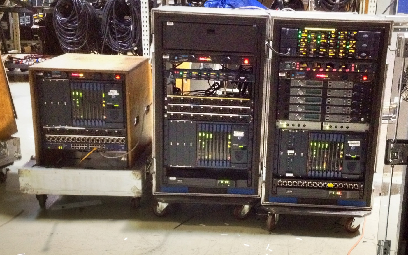 In the OSA shop the three Clearcom Eclipse nodes, HelixNet beltpacks and Tempest 2400 Intelligent roaming racks were assembled.