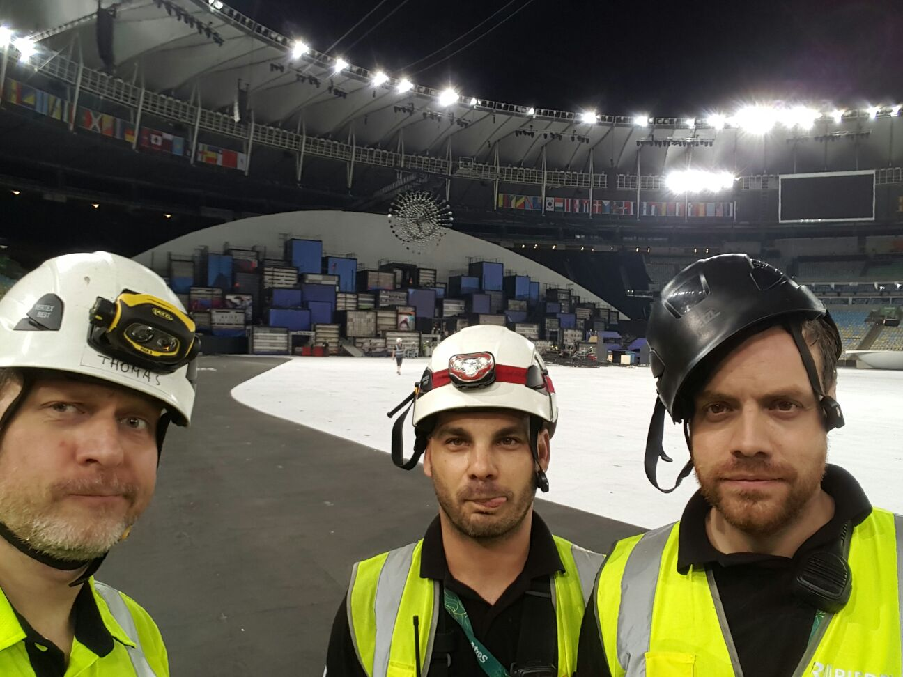Thomas, Paolo, and Philipp stuck at stadium after show for strike....Aren't they happy?  Strike of the staging in the venue begins immediately so all field level comms needed to be taken down right away.
