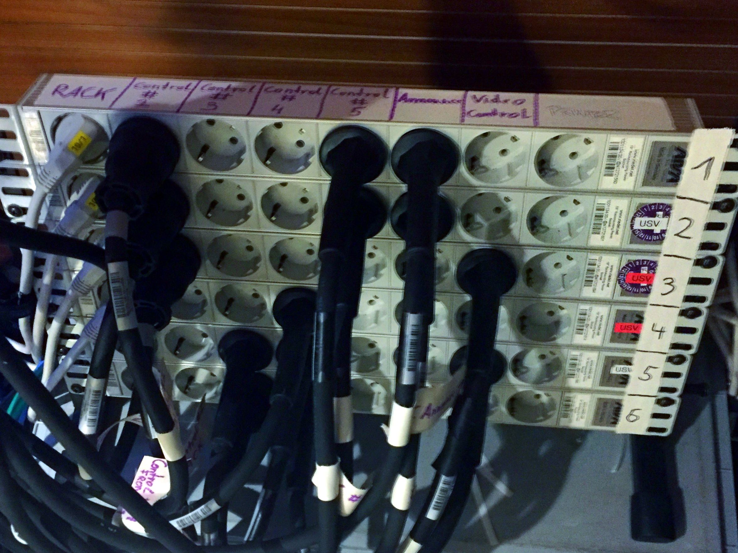 This is the power distribution for the control booths. Each power strip is the output of a UPS. Each column of connectors is assigned to the control rooms and the Nodes.