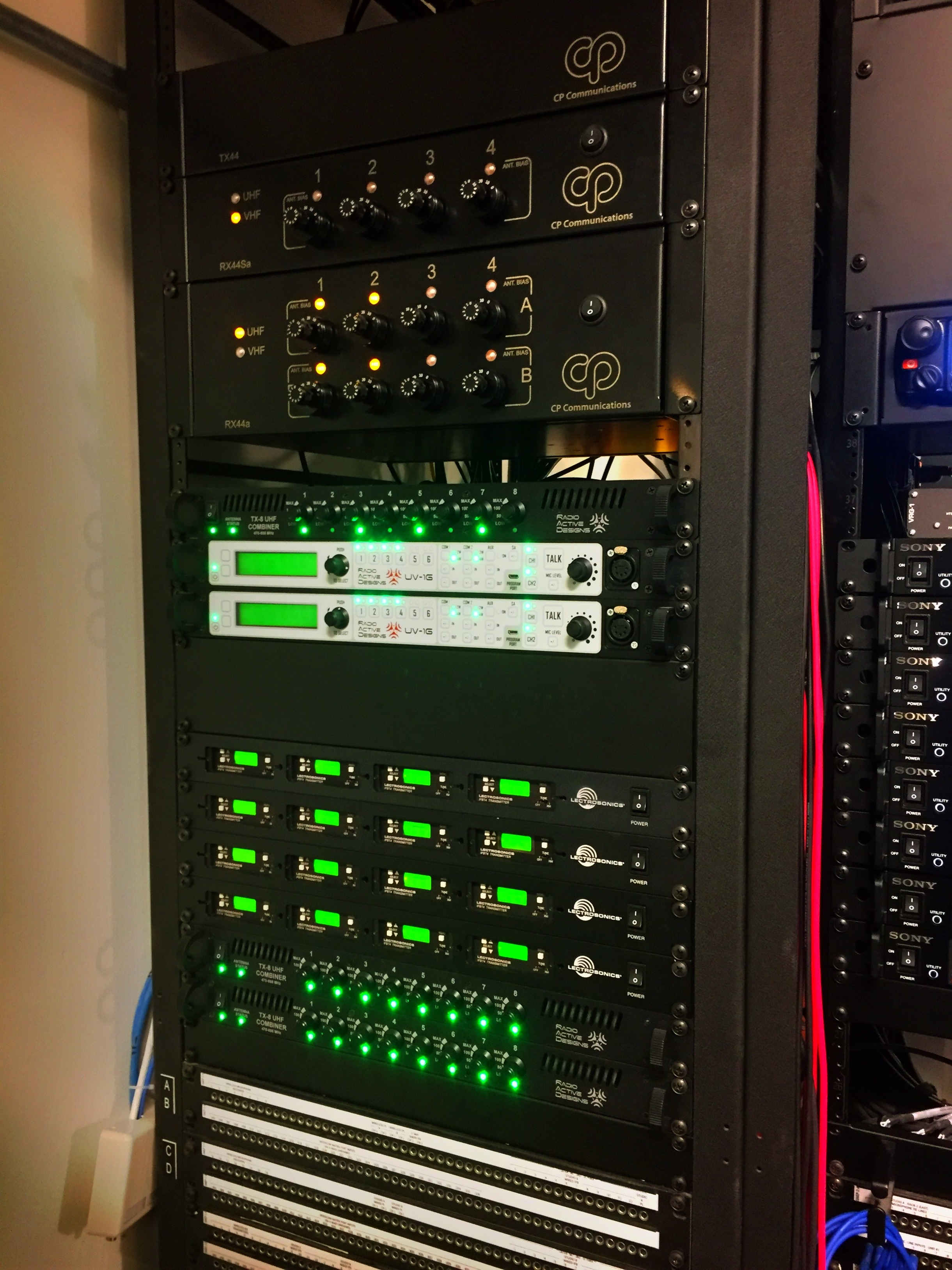CP Communications  installed all the RF equipment.  At the top are their custom antenna systems allowing coverage in all areas of the facility.   RAD UV-1G  wireless intercom, Lectrosonics IFB are below that all using  TX-8 RF DAs.