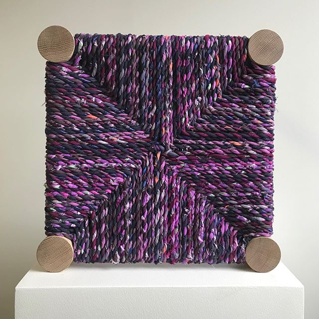 Freshly woven Marrakesh stool.  Colour: concord.  In collaboration with @callaparis.  Come to our showroom to check it out and see all the available colours!  #upcycledluxuryfabric