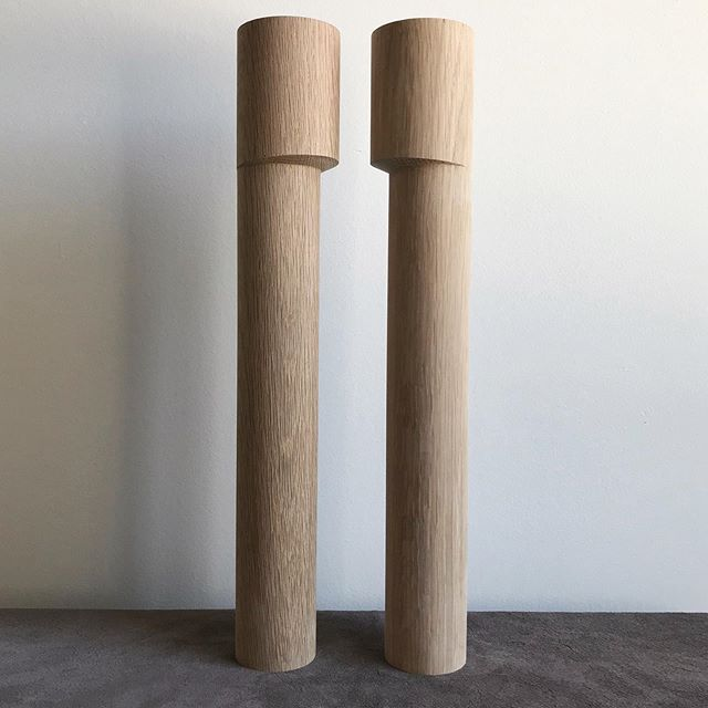 Sometimes we're delighted by the sculptural quality of an excellent unfinished part.  Pictured here is a pair of freshly turned Marrakesh legs, facing off. .  Soon to be drilled, joined together and woven with one of the lush colours of cord provided by @callaparis.