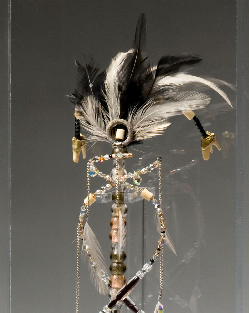 Talisman (QRO) (detail view top),  2008   Crystal, glass, wood, silver-plated, ceramic and bone beads, feathers, deer teeth, sewing needles, xacto blades, morse code   17 x 5 x 5 in | 43 x 13 x 13 cm