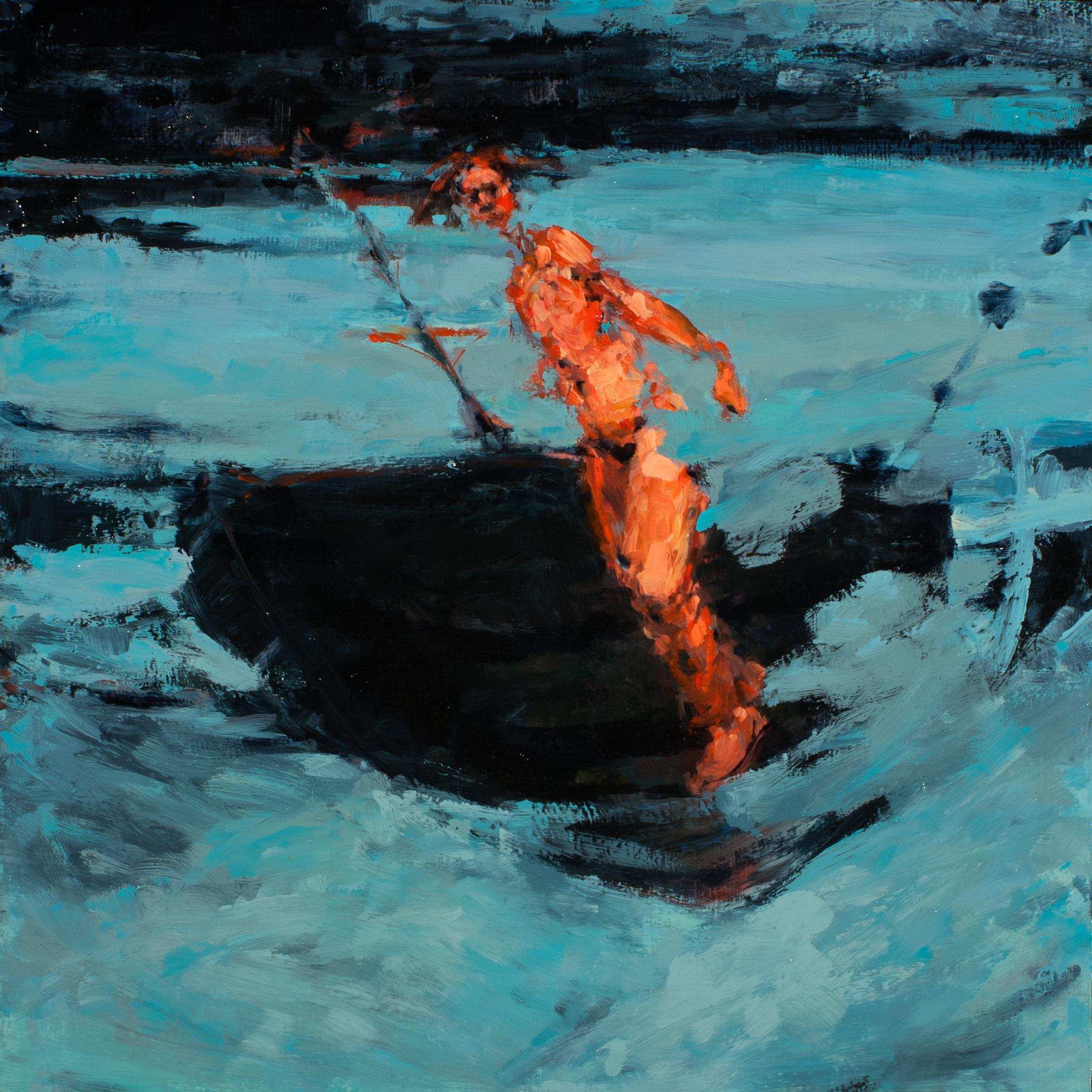"""Mast, oil on board, 16"""" x 16"""" x 2"""", 2013"""