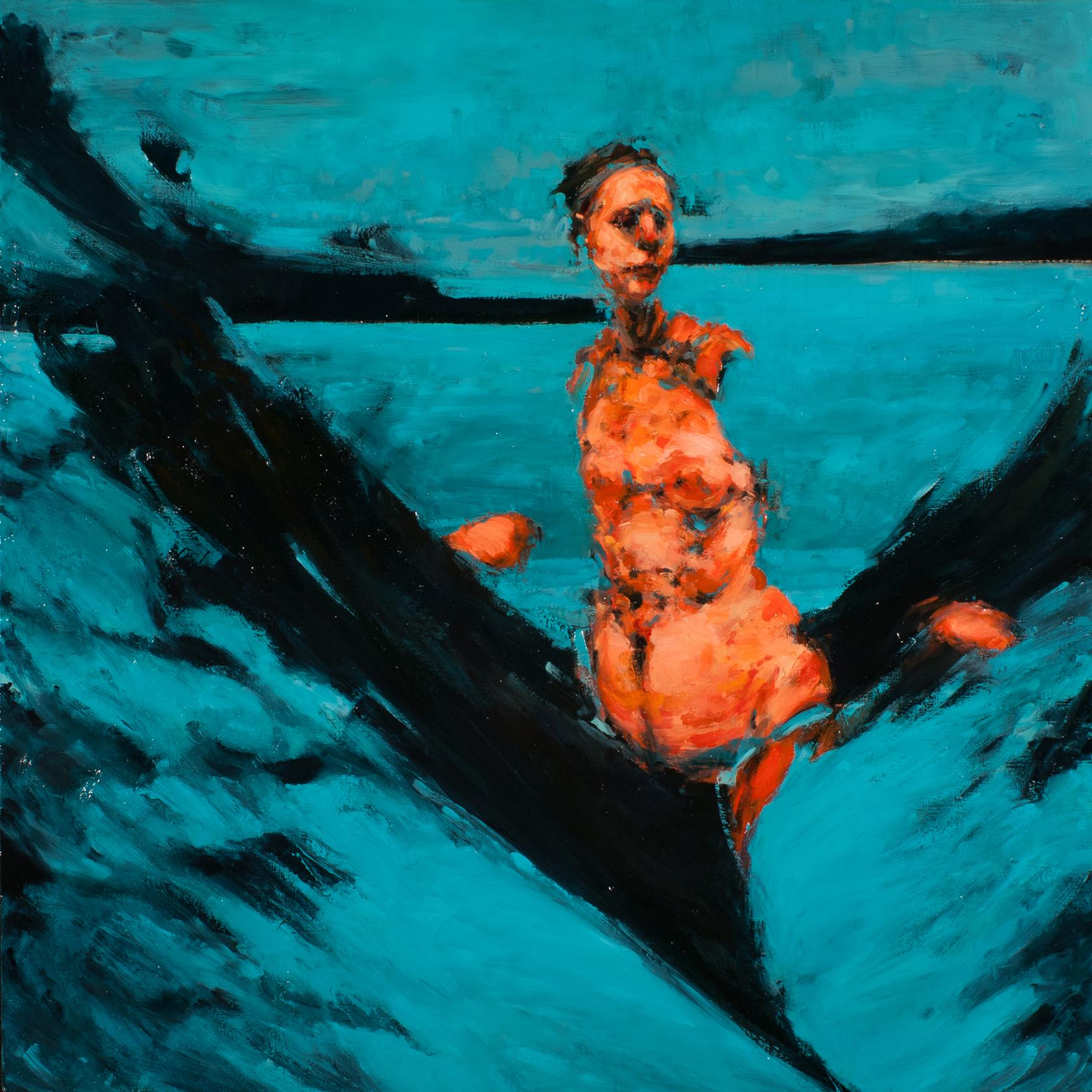 "Watchers, oil on canvas, 32"" x 32"" x 2"", 2012"