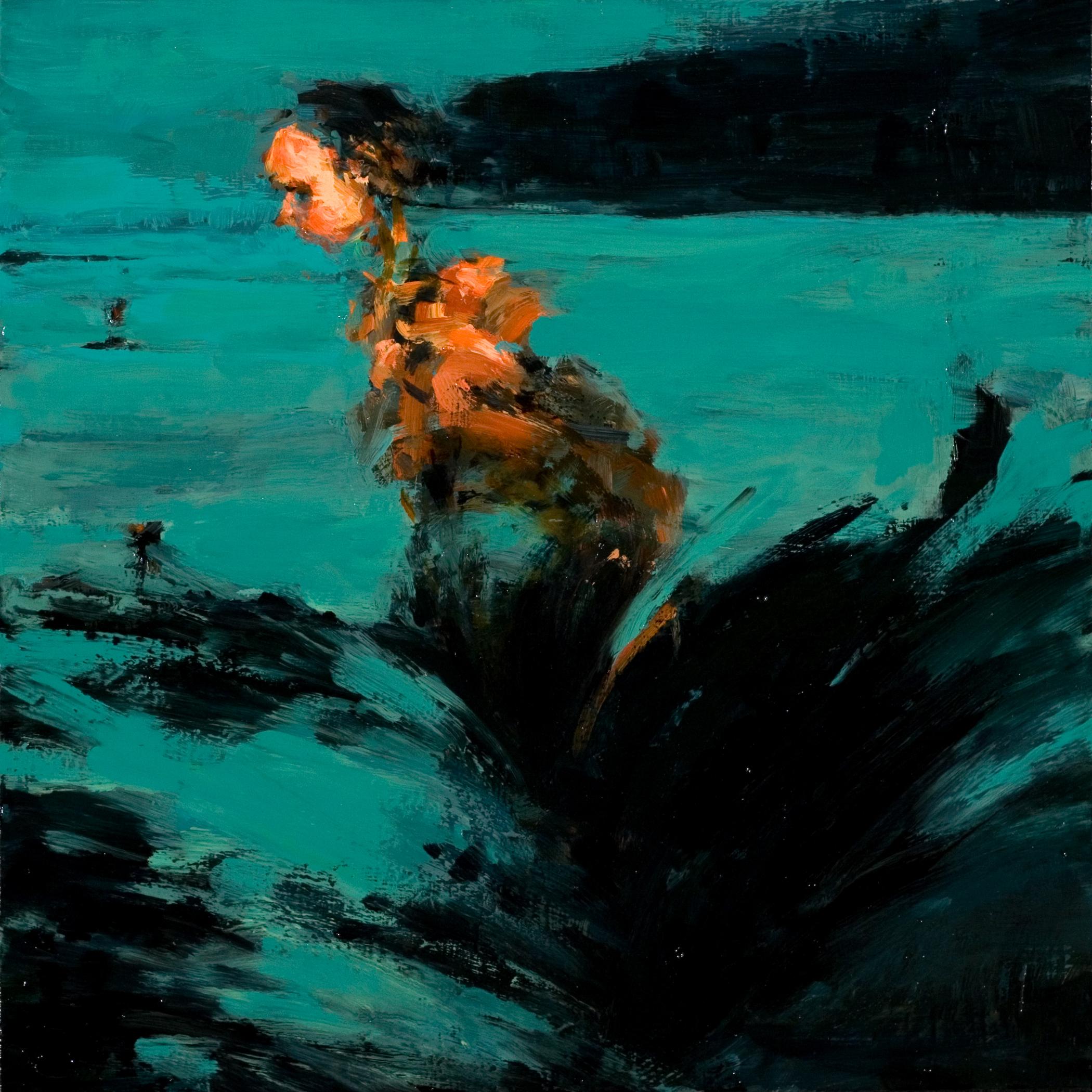 "Shipwreck, oil on board, 12"" x 12"" x 2"", 2012"