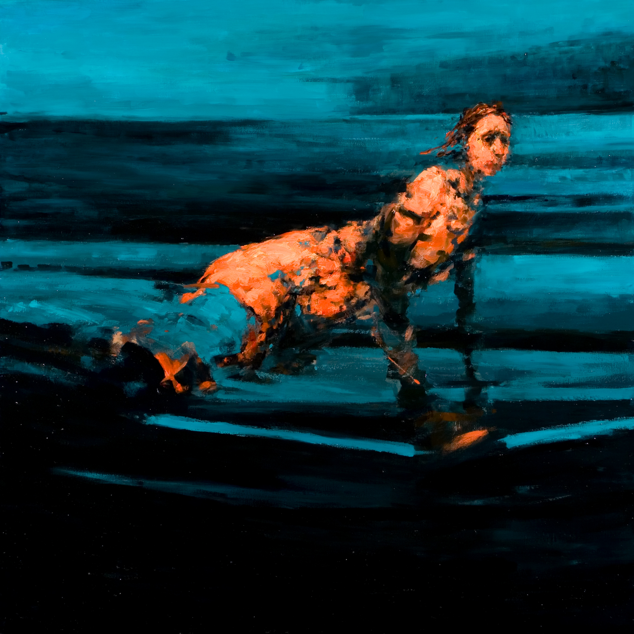 "Crux, oil on canvas, 42"" x 42"" x 2"", 2012"