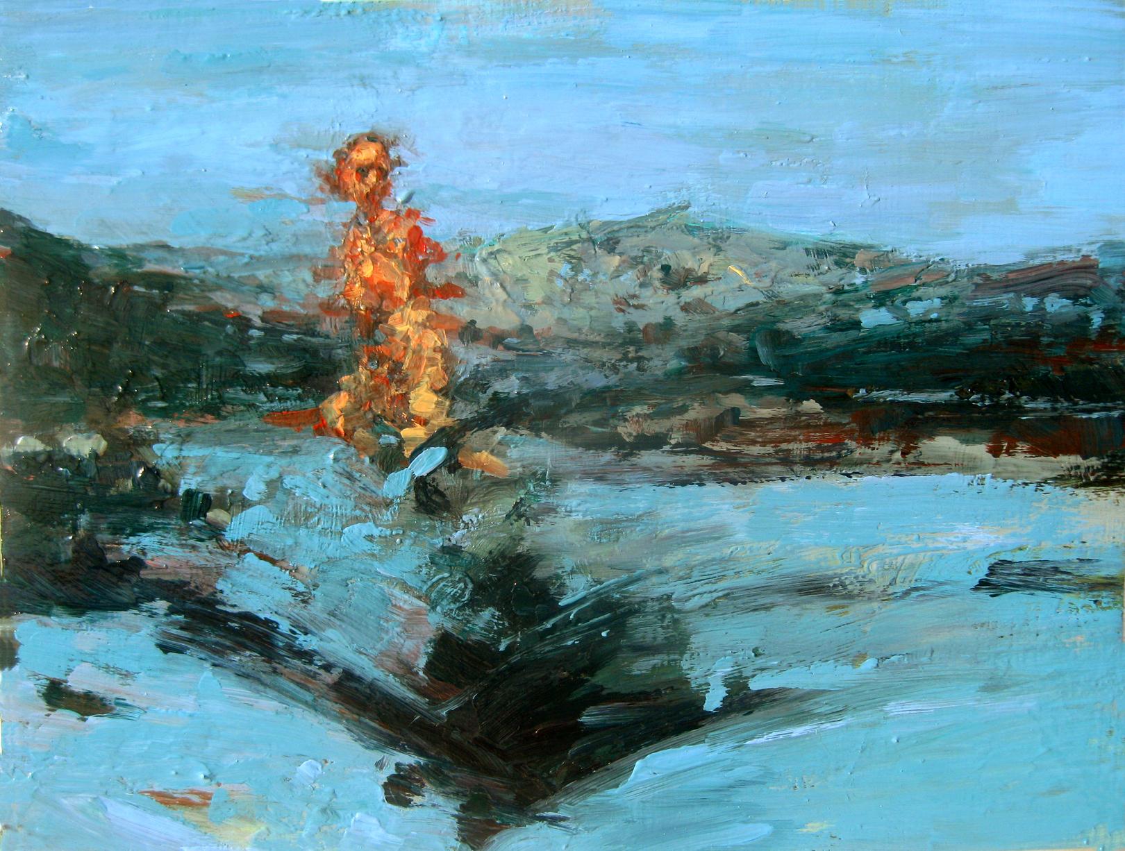 "Deluge (Naxos), oil on board, 9"" x 12"", 2011"