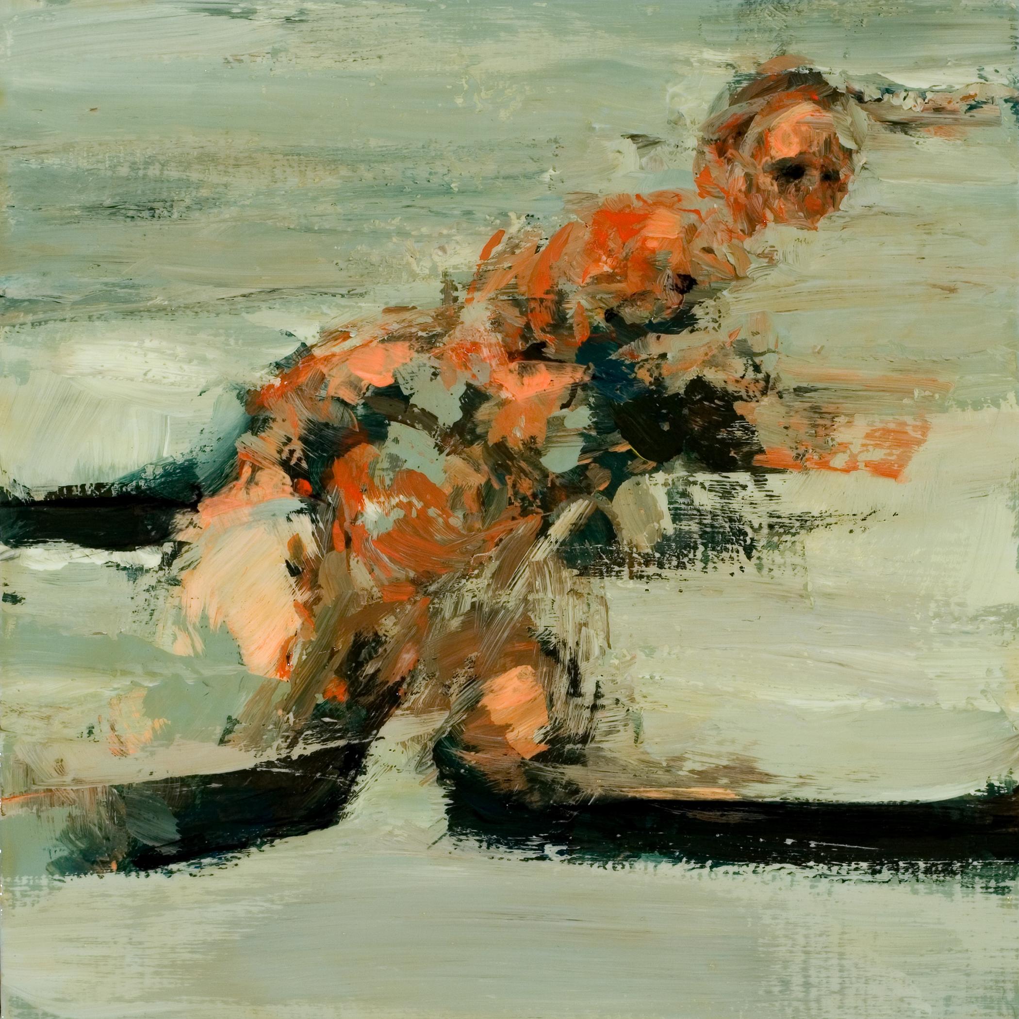 "Rough, acrylic & oil on board, 8"" x 8"" x 2"", 2010"