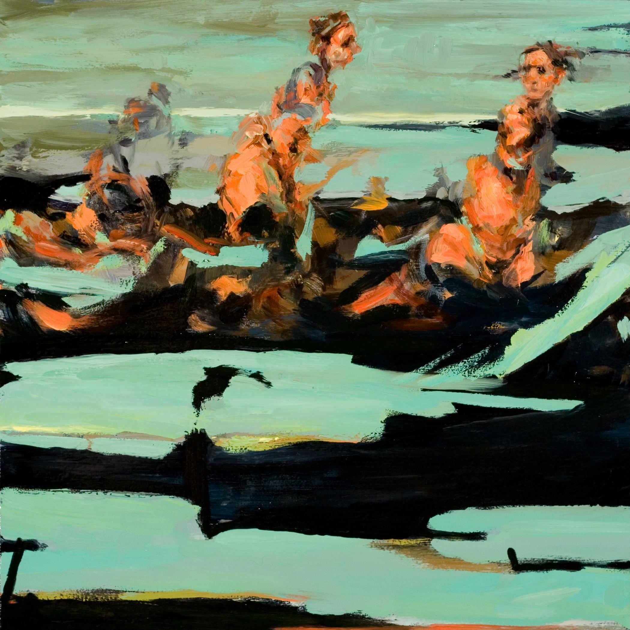 "Lost, oil on board, 12"" x 12"" x 2"", 2009"