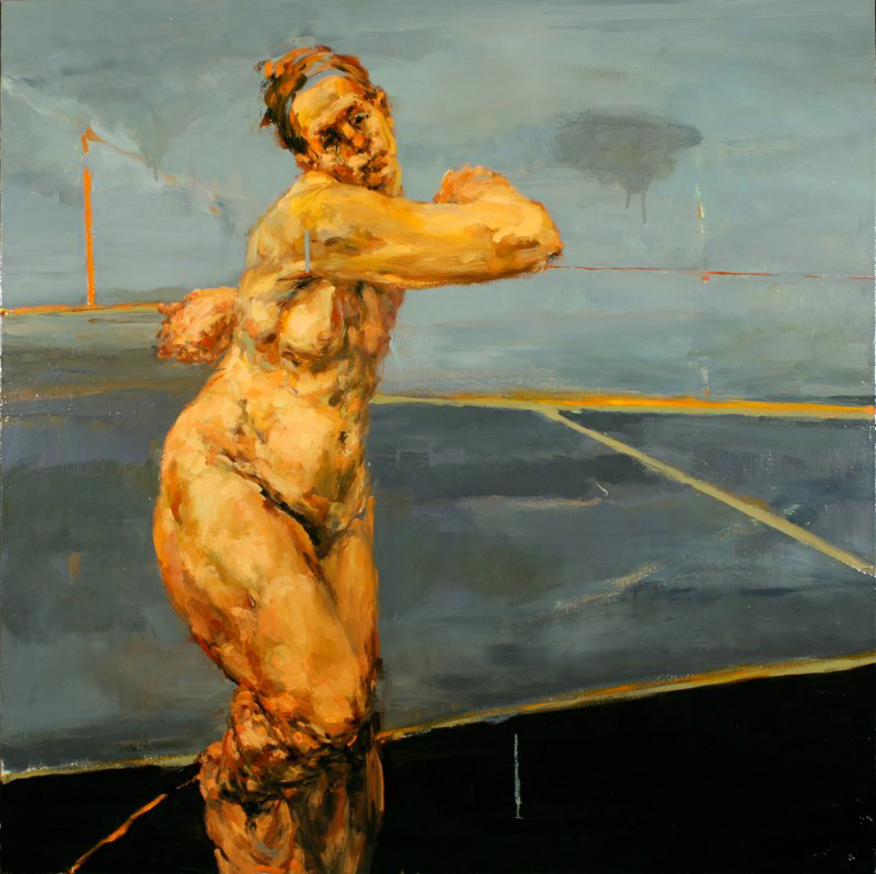 "Pulled, oil on canvas, 46"" x 46"" x 2"", 2006"