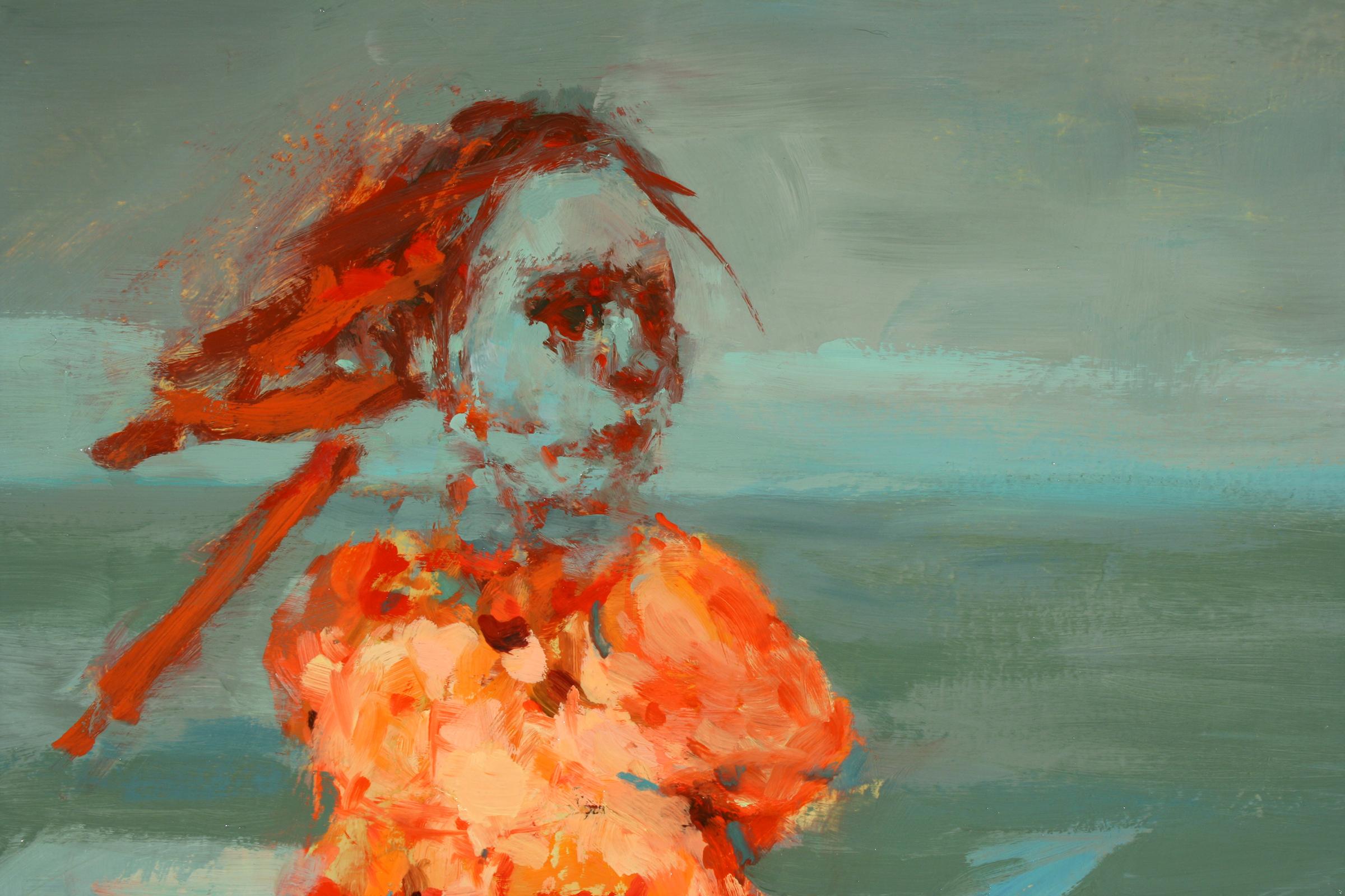 "Phantom (detail), oil on canvas, 42"" x 42"" x 2"", 2011"