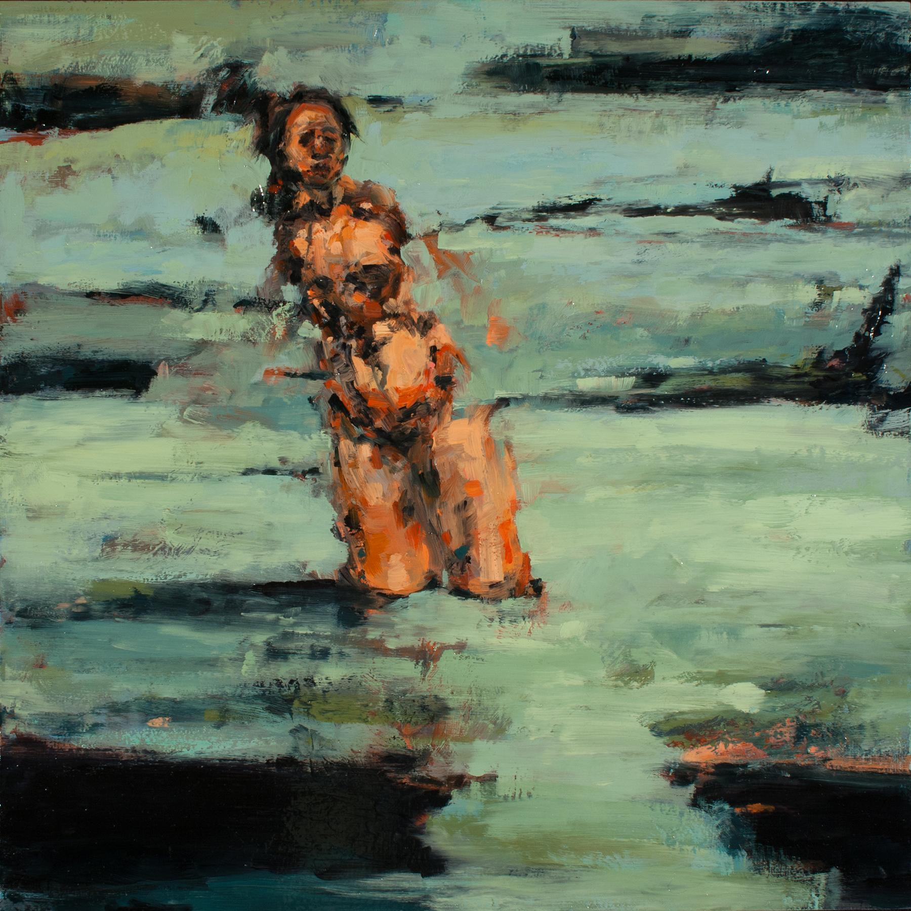 "Hinge (Struggle), oil on board, 16"" x 16"" x 2"", 2013"