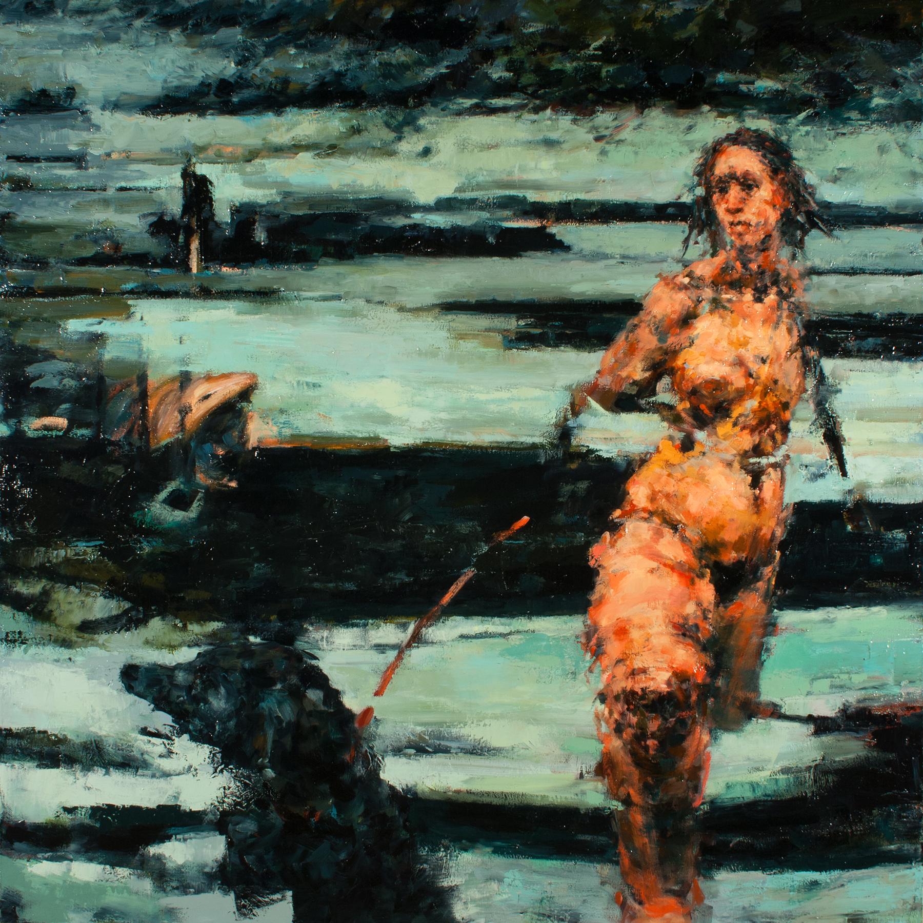 "Protector, oil on canvas, 42"" x 42"" x 2"", 2014"