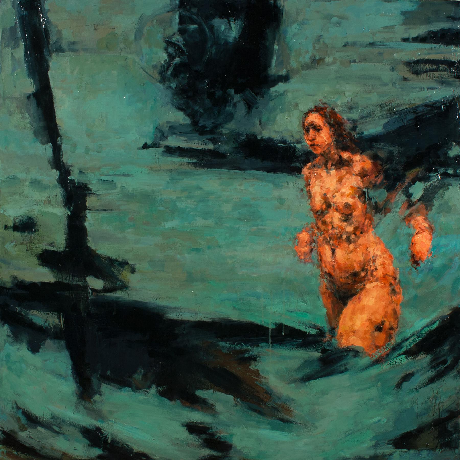 """Evidence (Bomber), oil on canvas, 42"""" x 42"""" x 2"""", 2013"""