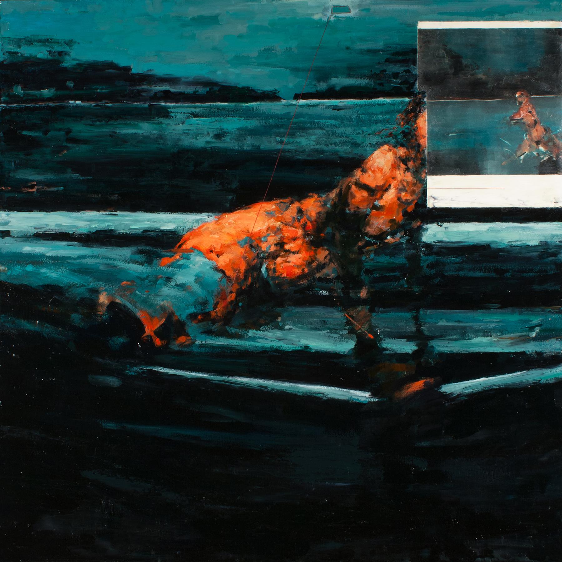"Crux (redux), oil, wax, thread, monotype on canvas, 42"" x 42"" x 2"", 2014"