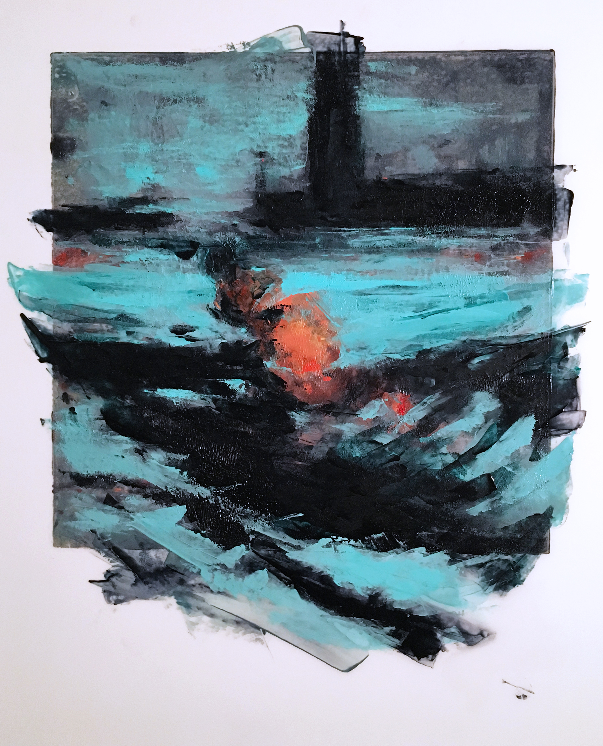 """'Processing the Scape: Harbor Ribs', painted monotype on Mylar, 24"""" x 18"""", 2016"""