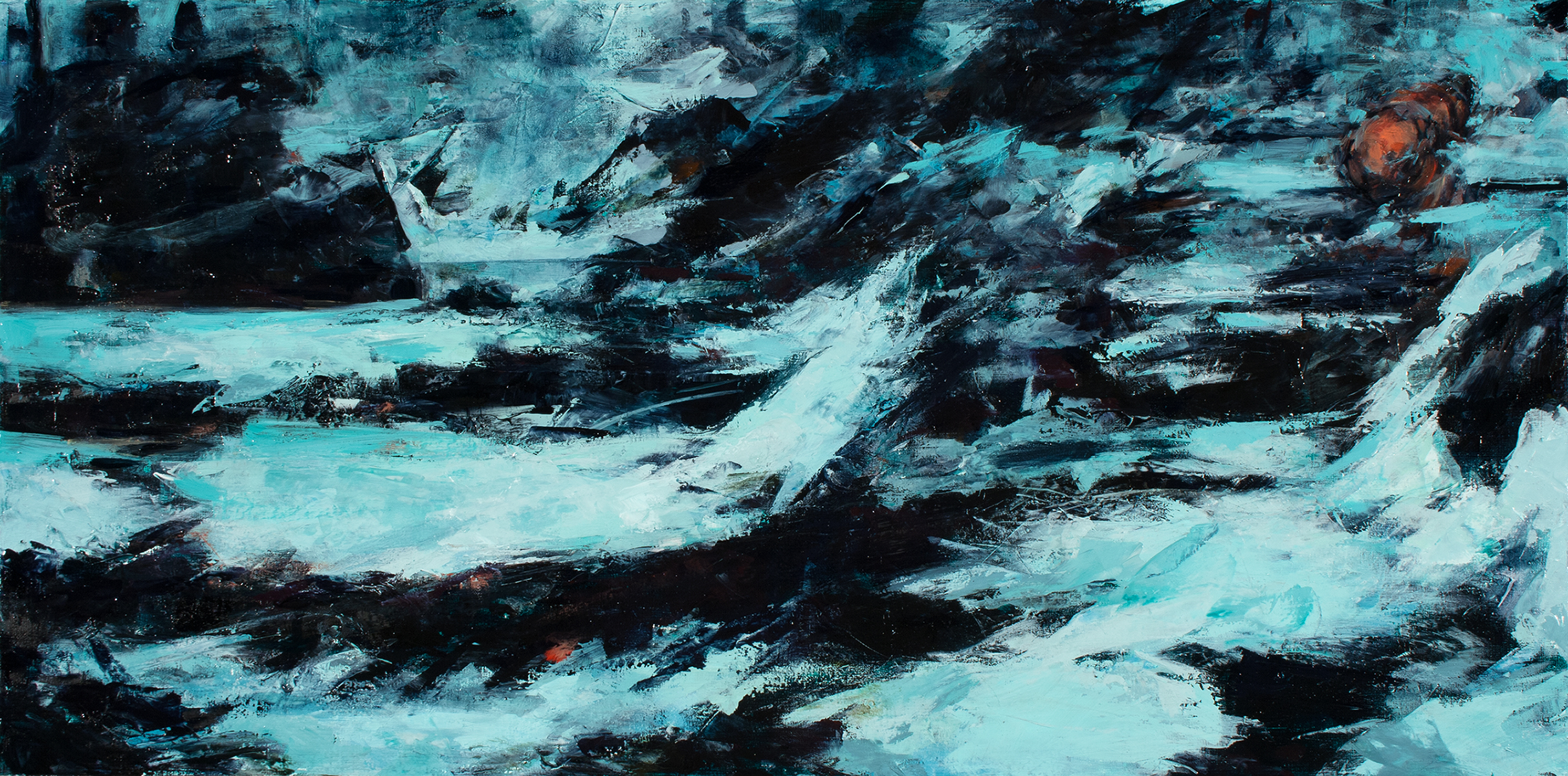 """'Arctic Hold', oil on board, 12"""" x 24"""" x 2"""", 2016"""