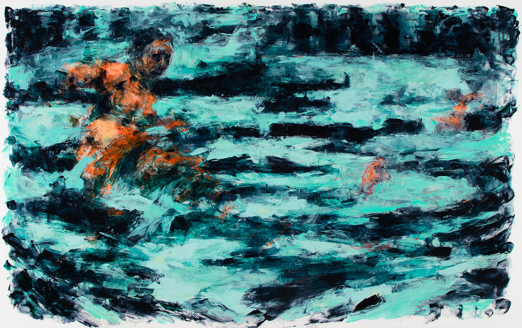 "'Residual Flow', oil, acrylic, and monotype on Mylar, 25"" x 40"", 2017"