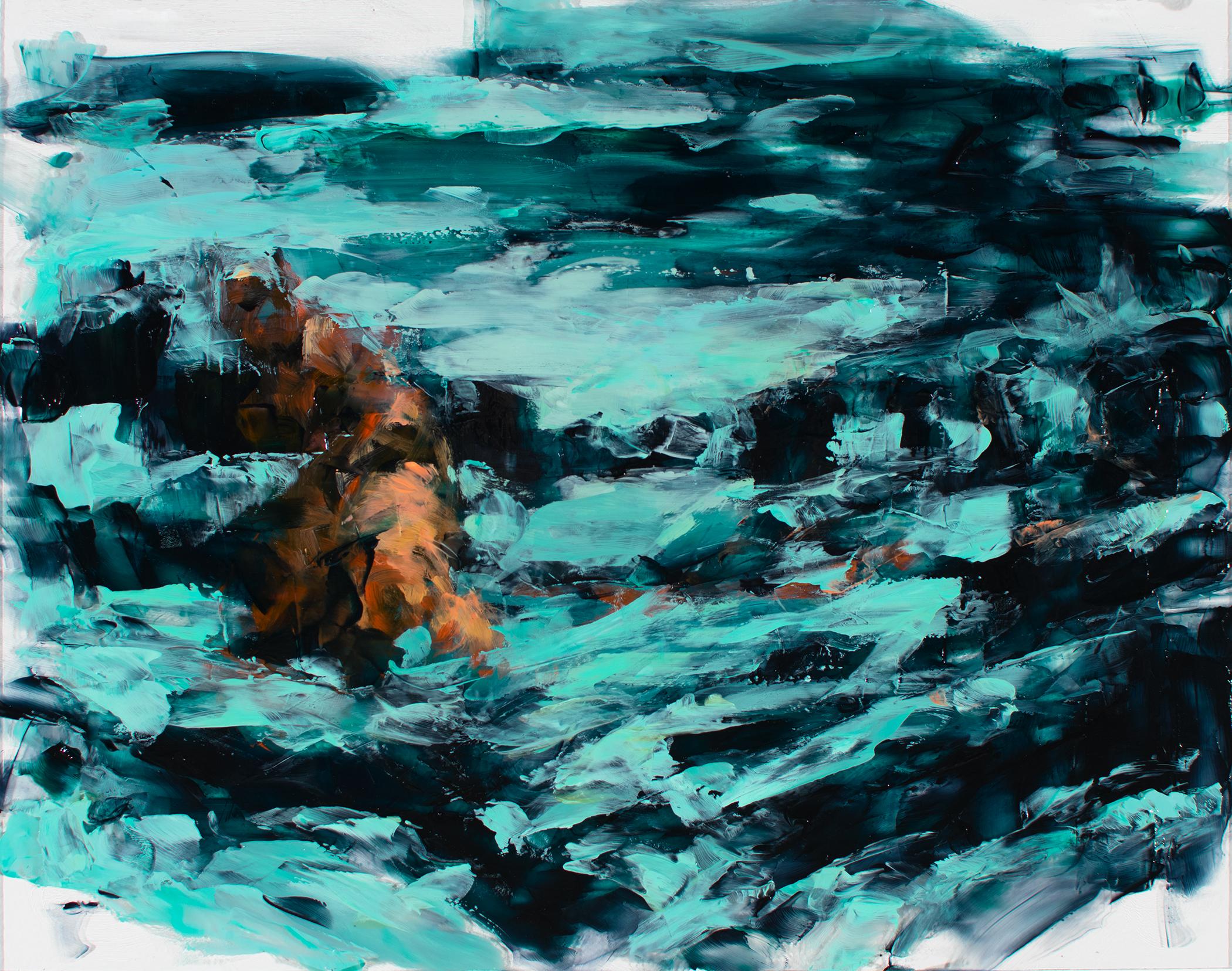 "'Lost', oil and acrylic on plexiglass, 11"" x 14"", 2017"