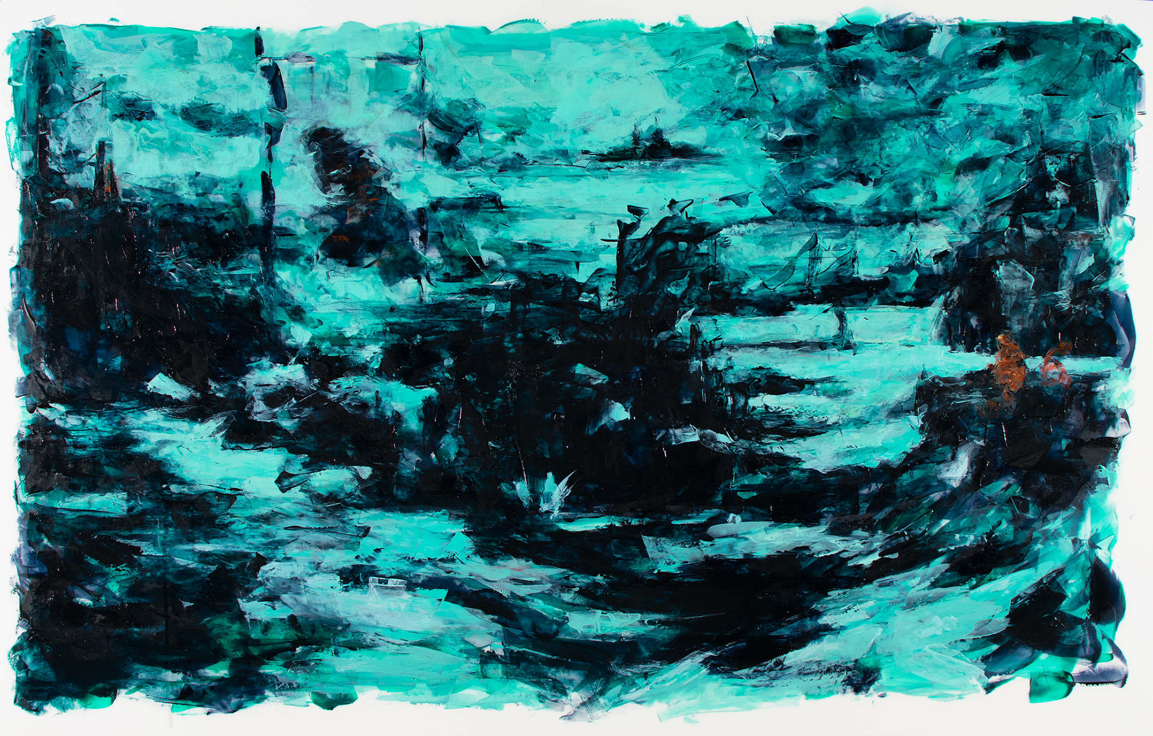 "'Ghosts of Svörtuloft', oil and acrylic on Mylar, 25"" x 40"", 2016"