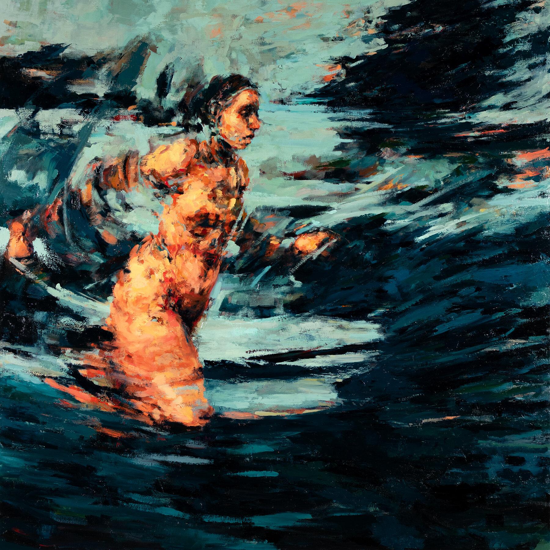 """'Vortex', oil on canvas, 46"""" x 46"""" x 2"""", 2019"""