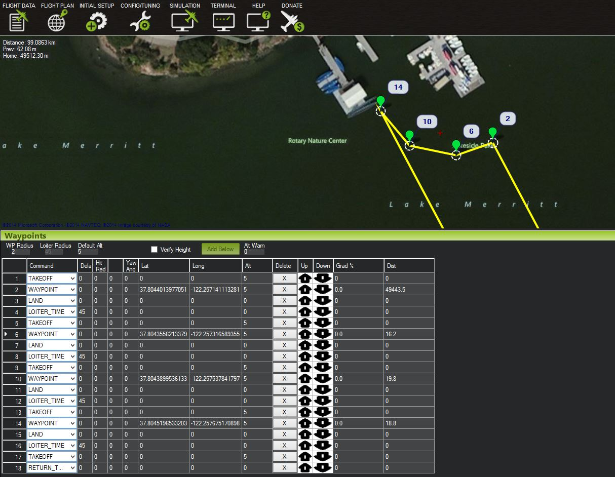 Screen shot of Mission Plan