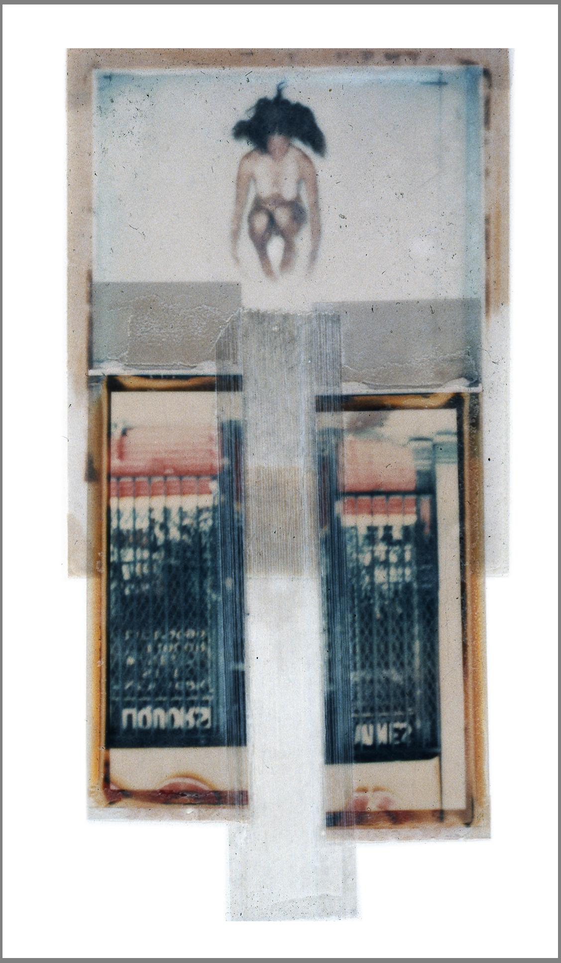 """1975  Polaroid SX70 film and mixed media, 8x3.5 """""""