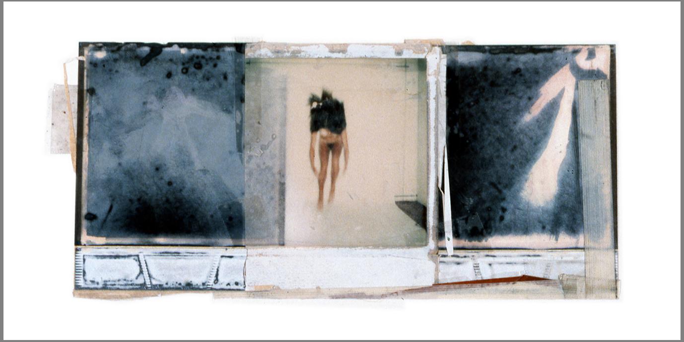 """1975  Polaroid SX70 film and mixed media, 4x10.5"""""""