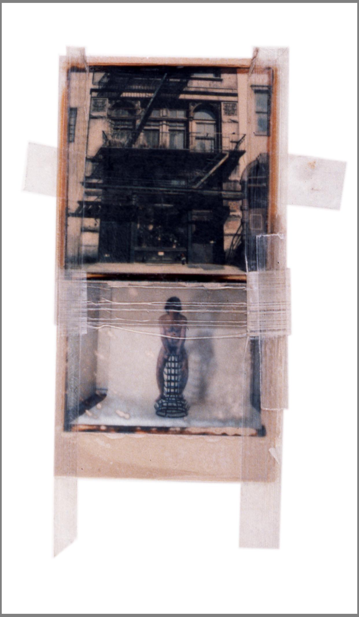 """1975  Polaroid SX70 film and mixed media, 6x3.5"""""""