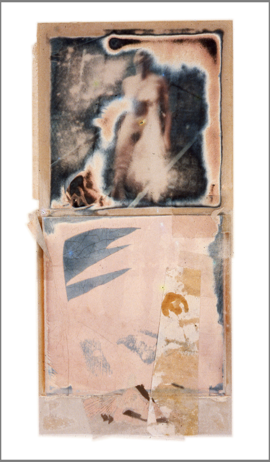 1977  Polaroid SX70 film and mixed media, 7x3.5""