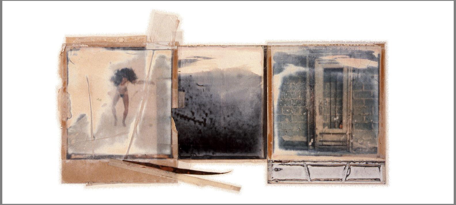 """1977  Polaroid SX70 film and mixed media, 4.5x11.5"""""""