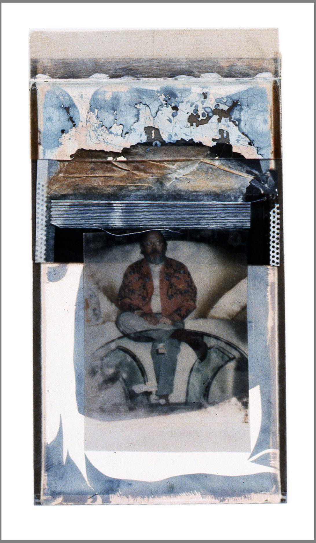 """1977  Polaroid SX70 film and mixed media, 6x3.5"""""""
