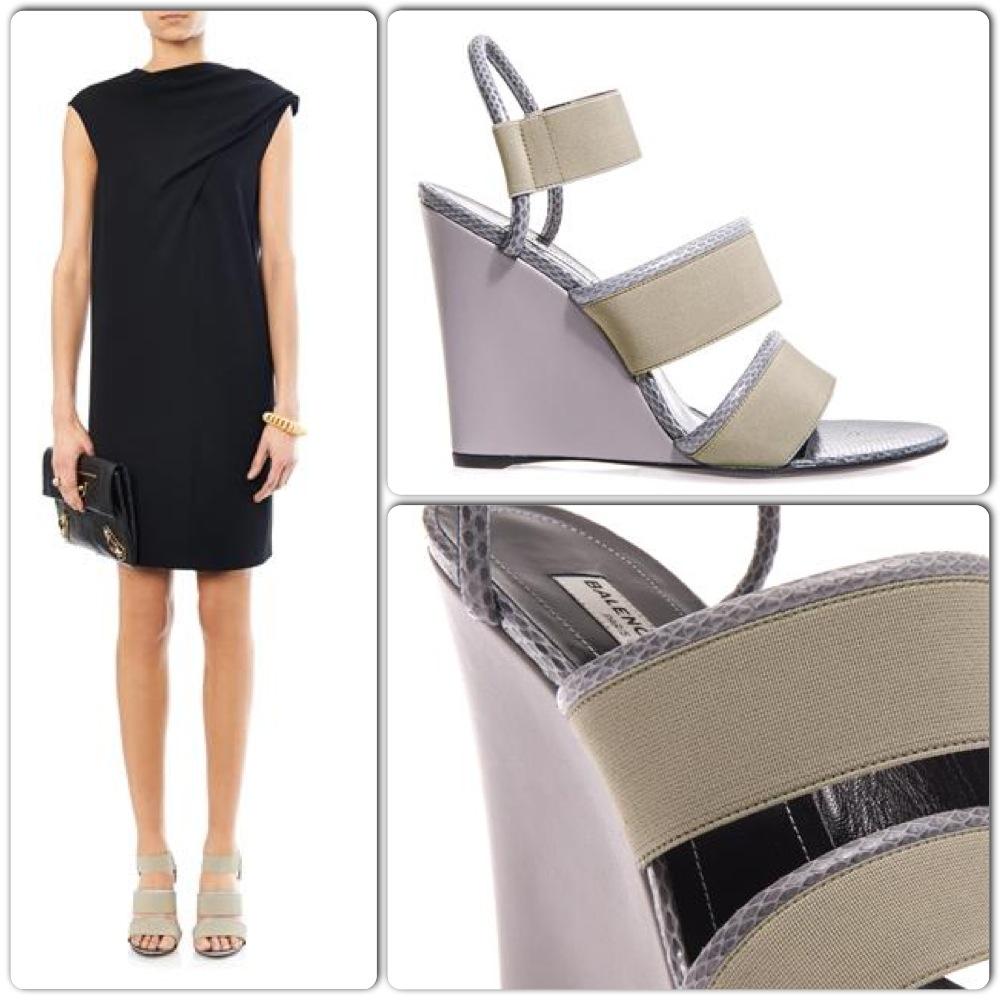 Balenciaga glove leather and snakeskin wedge sandals, $745 Click this Link for More Info!