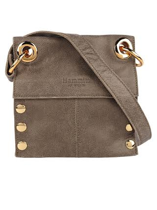 Hammitt crossbody bag in a taupe with a slight metallic sheen. From Gus Mayer.