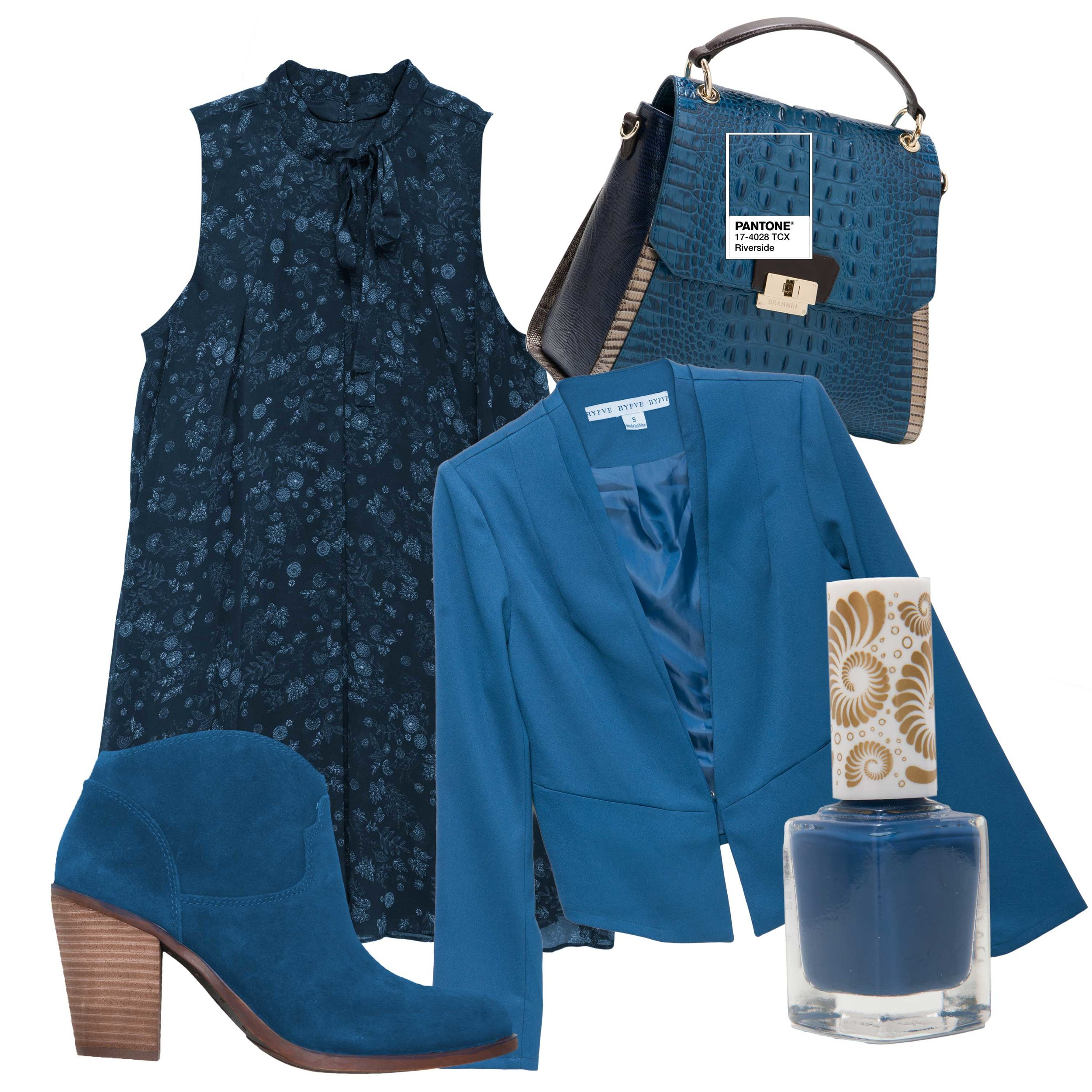 "BCBGeneration dress, $98 (Belk) Brahmin ""Brinley"" handbag, $375 (Belk) Hyfve jacket, $44 (Von Maur) Pacifica ""1972 WPool Party"" Nail Polish (Whole Foods) Lucky Brand ""Eller"" boot, $139 (Belk)"