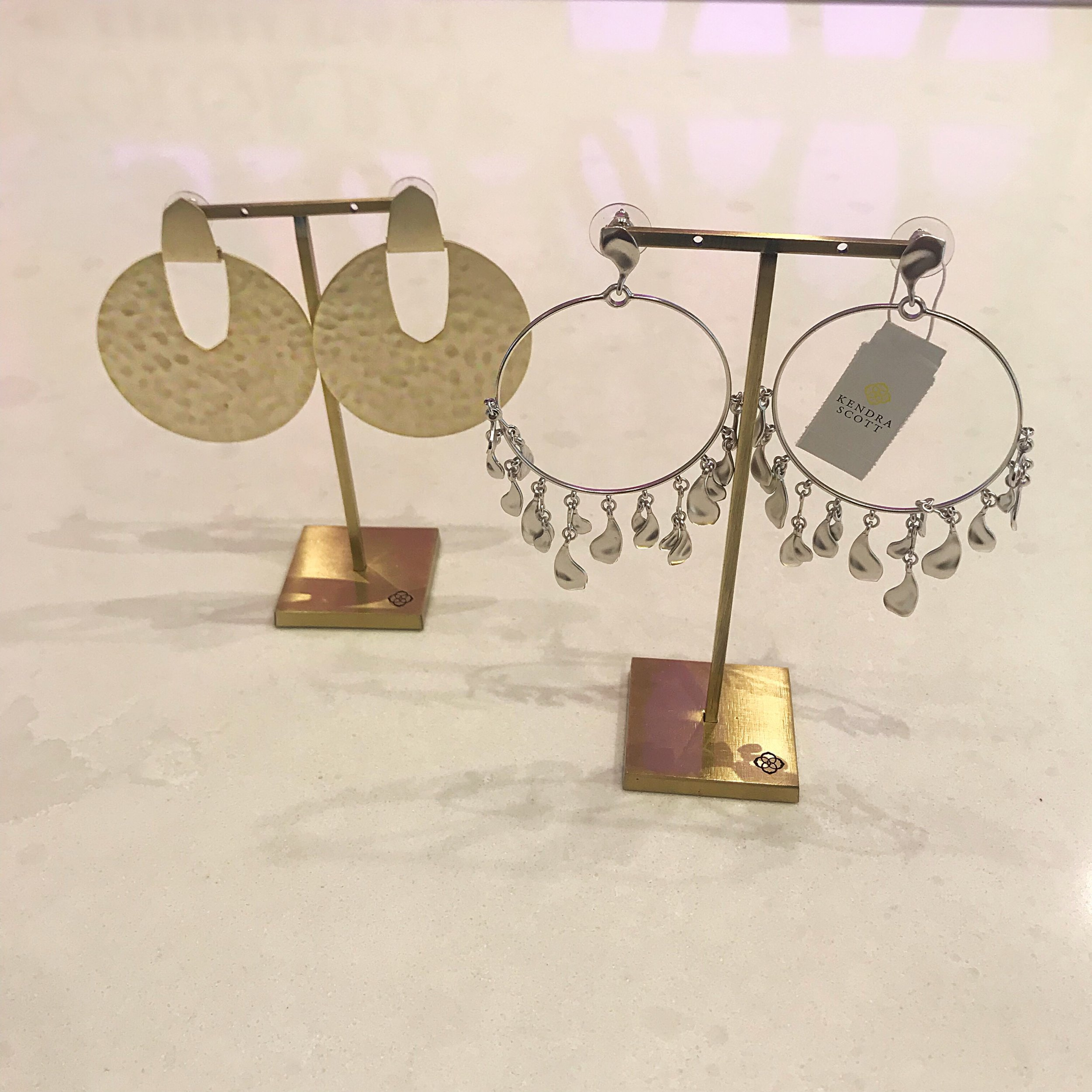 DIDI STATEMENT EARRINGS IN GOLD  and  NATASHA HOOP EARRINGS IN SILVER