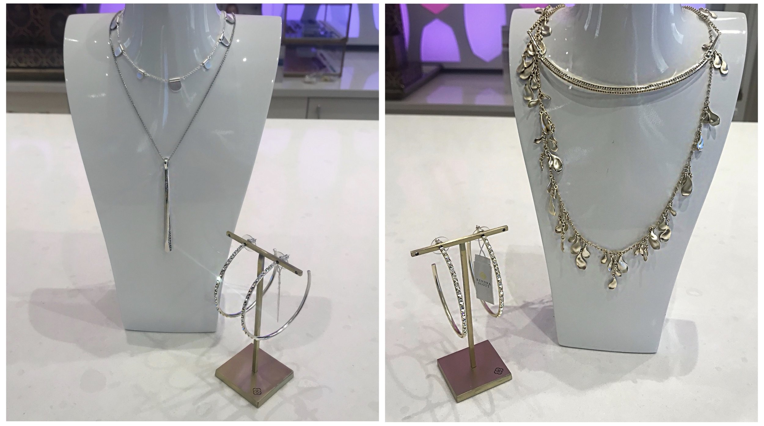 On left, silver set:  OLIVE LONG NECKLACE IN BRIGHT SILVER ,  R  O LONG PENDANT NECKLACE IN SILVER , and  VAL SILVER HOOP EARRINGS IN IRIDESCENT CRYSTAL . On right, gold set:  GOLDIE GOLD CHOKER NECKLACE IN GOLD FILIGREE ,  BELLA LONG NECKLACE IN GOLD , and  VAL GOLD HOOP EARRINGS IN IRIDESCENT CRYSTAL .