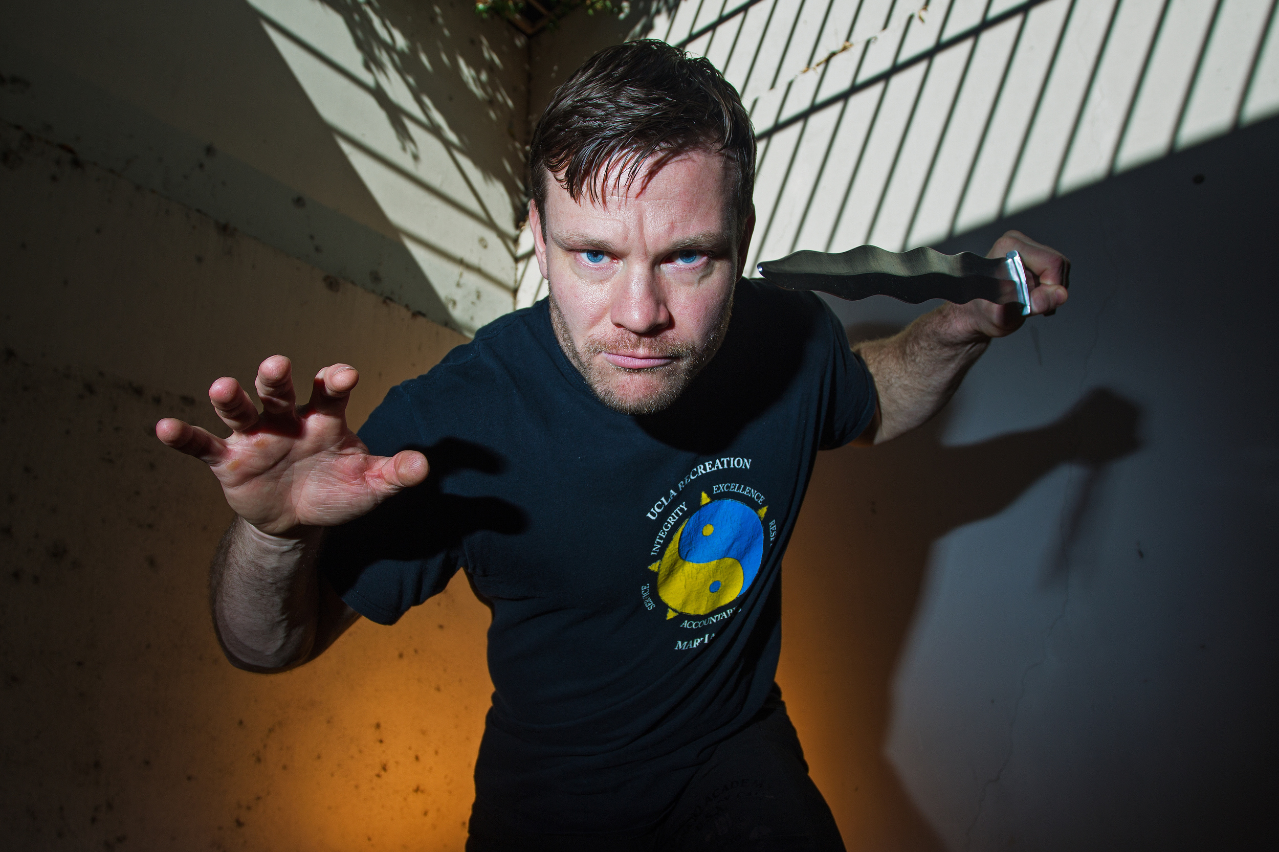 UCLA Recreation martial arts instructor Paul McCarthy poses for a portrait at the Crowne Plaza hotel in Costa Mesa, CA.